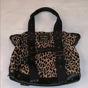 Betsey Johnson Lg tote cheetah print with studs
